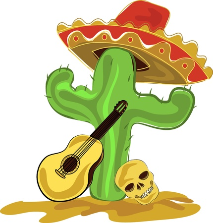 Mexican cactus, sombrero, guitar and skull Vector
