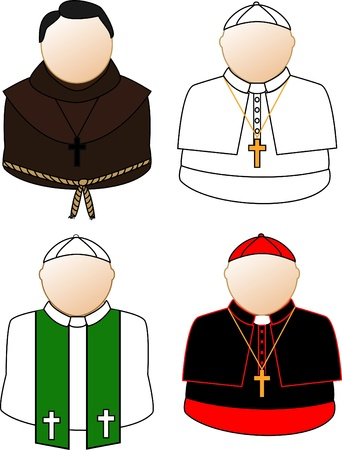 priest: Catholic priest, cardinal and pope Illustration