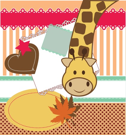 jirafa cute: Etiqueta engomada linda jirafa. Elementos del libro