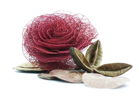 made by hand: Rose made of dried leaves