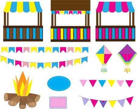 Junina Party elementos coloridos