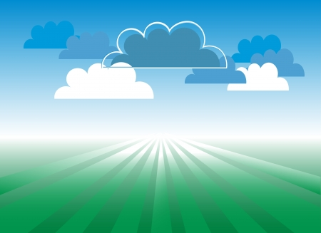 Cloudscape and fields Stock Vector - 19533687