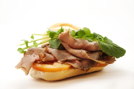 ham sandwich: Arrosto di manzo sandwich Archivio Fotografico