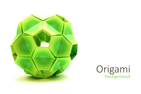 transformation: Origami complex ball isolated on white