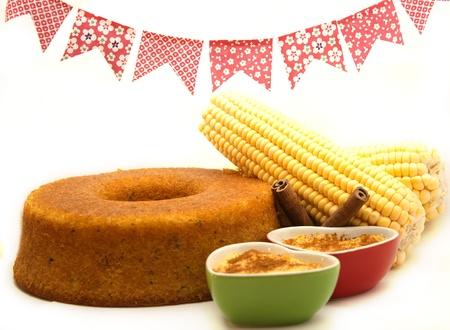 トウモロコシのケーキ伝統的なブラジル料理 写真素材