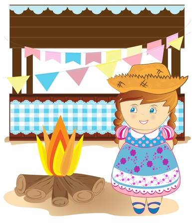 Cute girl on country party  Vector