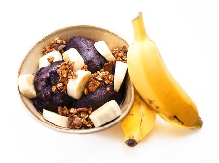 acai: Acai bowl  Amazon fruit with bananas and granola
