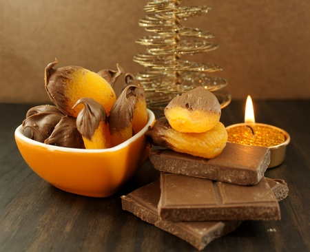 Apricot and chocolate  Christmas background photo