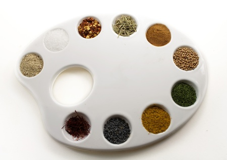 dill seed: Spices on a palette