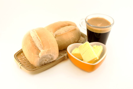 french bread: Simple breakfast Stock Photo