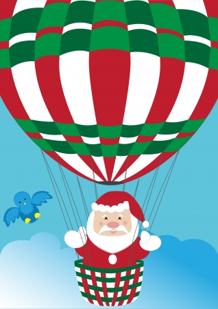 Santa Claus in hot air balloon  Vector
