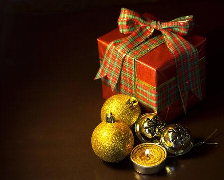 Christmas gift on dark background photo