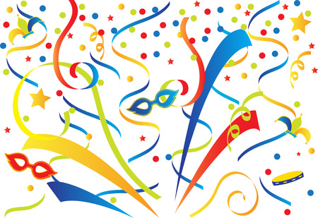 gras: Carnival background with confetti and ribbons