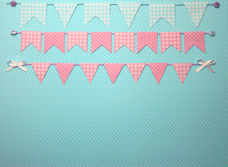 Cute bunting flags with copy space photo