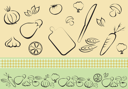 Vegetables outline Vector