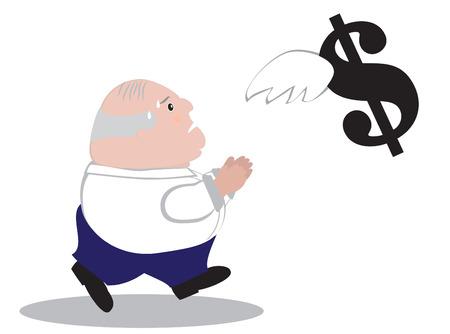 flying money: Hombre de negocios Chubby tratando de conseguir el dinero del vuelo