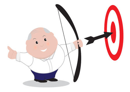 Chubby business man happy with arrow on target Vector