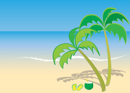 Beach background with coconut trees and flip flop sandals 向量圖像