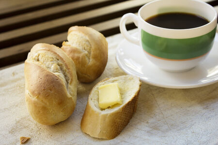 Simple breakfast  Bread butter and coffee