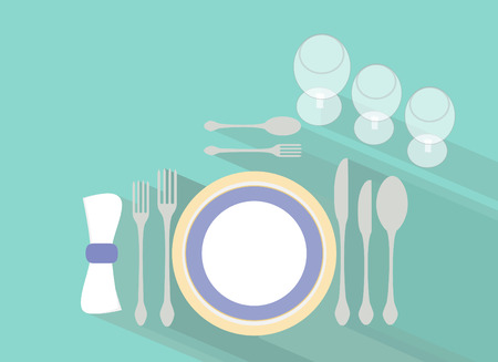 the etiquette: Formal table setting  Flat design