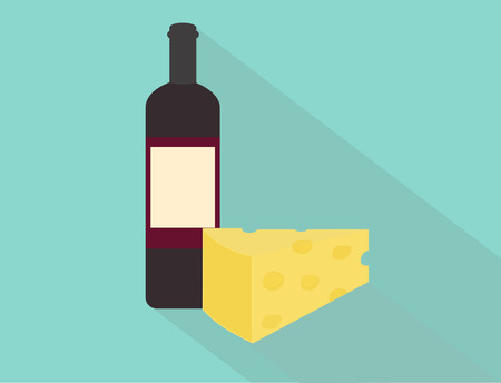 Wine and cheese  Flat design
