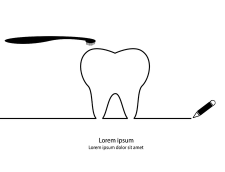 Tooth contour. Modern simple design.