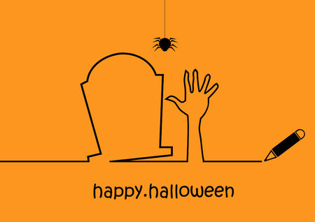 Halloween contour. Modern simple design. Vector
