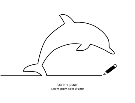 Dolphin contour modern simple design. Vector