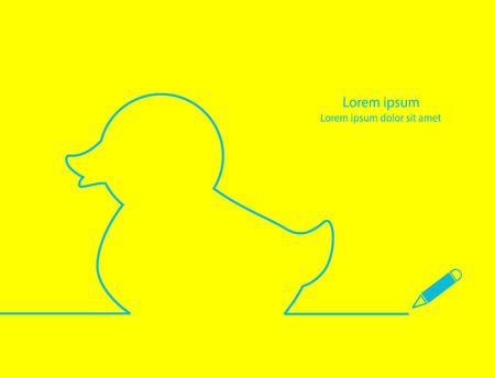 agachado: Contorno Duck diseño sencillo y moderno.