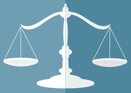 scale of justice: Justice scale flat design Illustration
