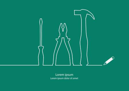 Tools outline contour design Vectores