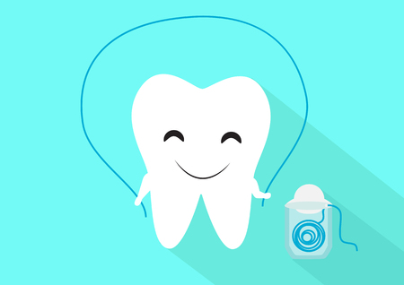 floss: Tooth and dental floss cute flat vector