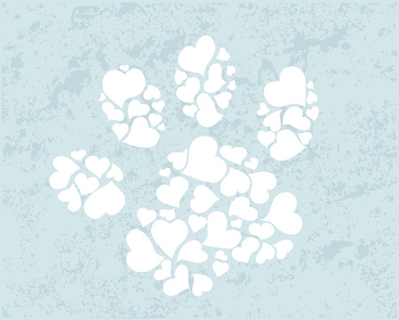 dog track: Cute paw print hearts Illustration
