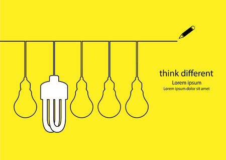 different concept: Think different concept. Lamps outline drawings.