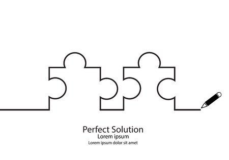 perfect: Puzzle outline contour drawings. Perfect solution. Illustration