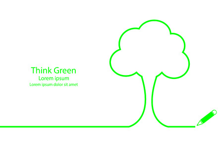 simple life: Think green concept. Tree outline contour.