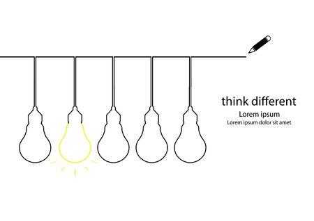lamp outline: Think different concept. Lamp outline contour vector.