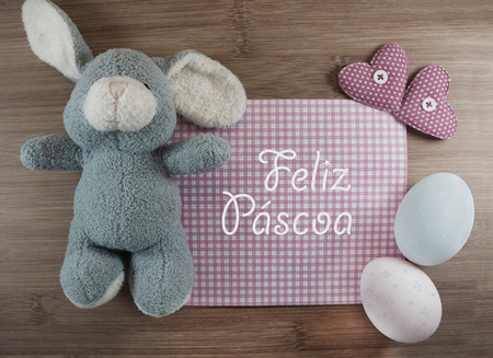 Feliz Pascoa is Happy Easter in portuguese language. Soft filter. photo
