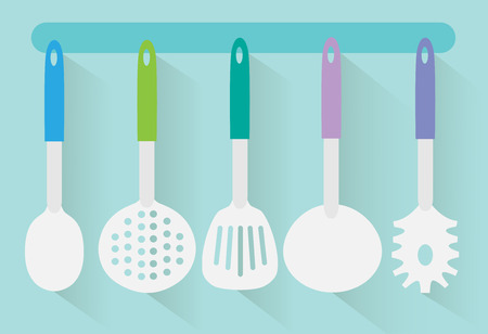 cooking utensils: Kitchen utensils flat design vector Illustration