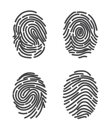 Les empreintes de doigts fixés. Vecteur stylisé de conception