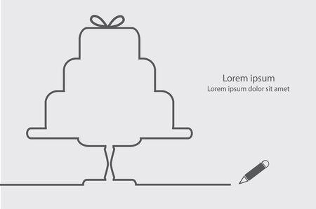 outline wedding: Wedding cake contour line minimal elegant vector illustration. Illustration