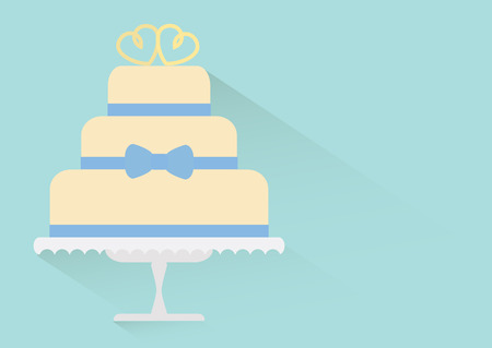 wedding cake illustration: Wedding cake simple modern flat design with copyspace.