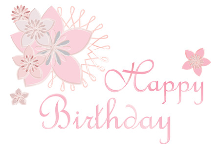 girlie: Happy Birthday and cherry blossoms water color vector illustration.