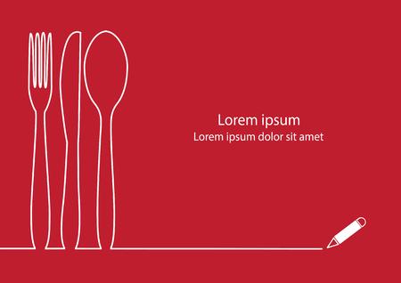 Tenedor, cuchillo y cuchara línea de dibujo de diseño. Vectores