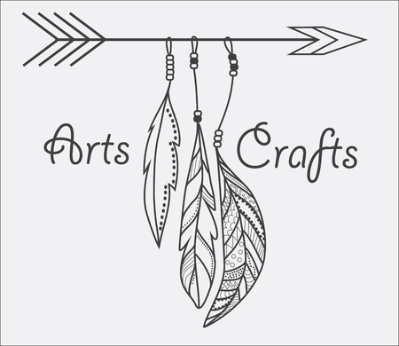 hand craft: Arts and Crafts line design with feathers. Illustration