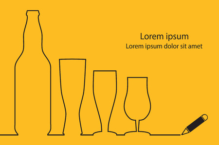 Beer continuous line drawing design. Vector