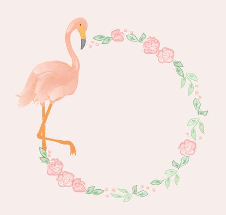 flamenco ave: Flamingo y rosas guirnalda diseño de la acuarela.