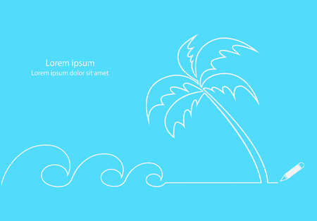 coconut tree: Waves and coconut tree on beach line drawing design. Illustration