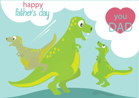 green day baby blue background: Happy Fathers day. Dinosaurs playing with Dad cartoon. Illustration