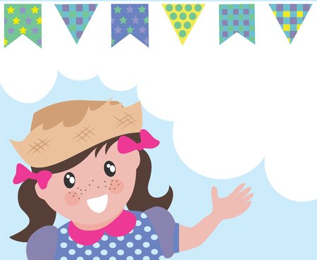 hillbilly: Hillbilly girl on  background with bunting banners and copy space.